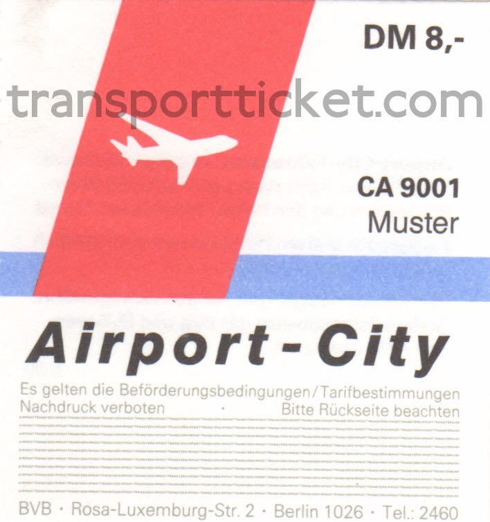 BVB special ticket for transport from airport to hotel (1990)