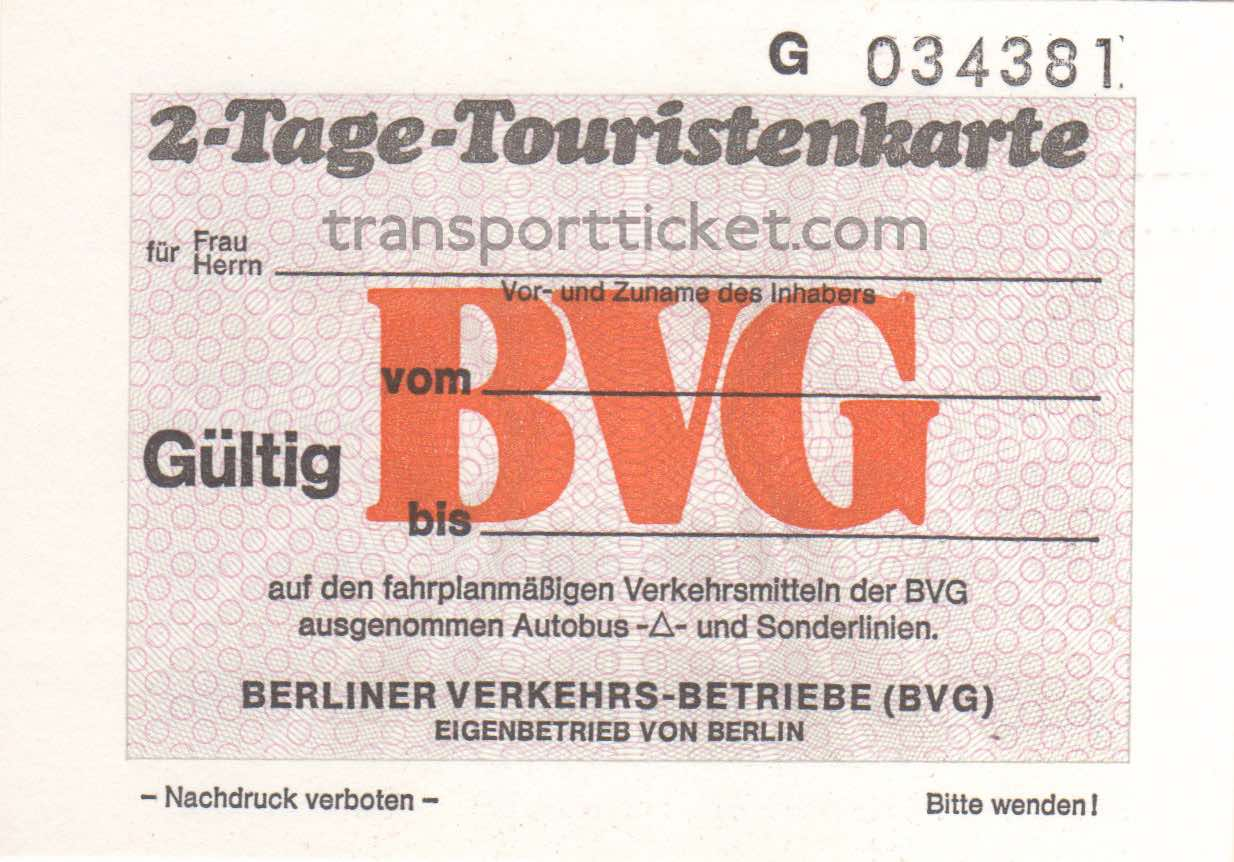 BVG 2-dayticket (1987)