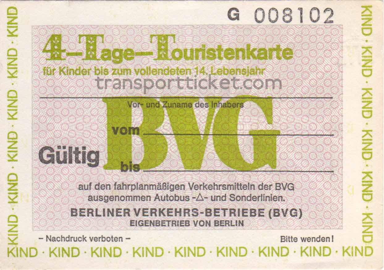 BVG 4-dayticket (1987)