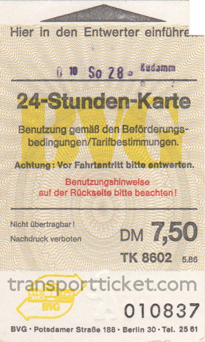 BVG dayticket (1986)