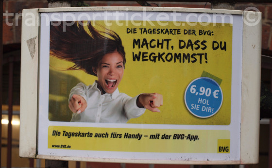 ad for a BVG dayticket at a busstop (2015)