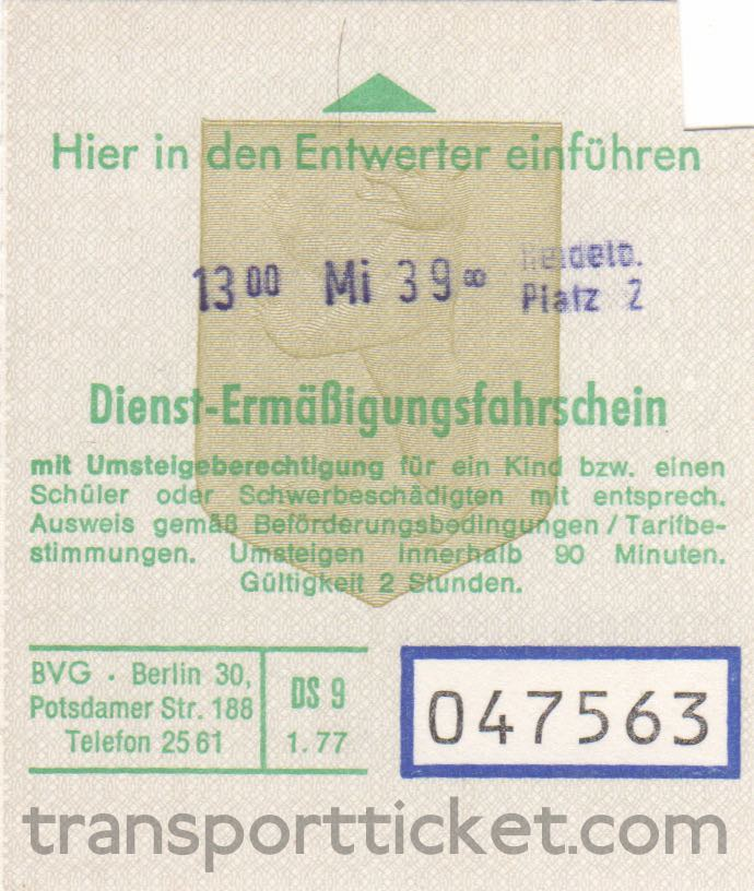 BVG service ticket for a child, student or disabled person (1977)