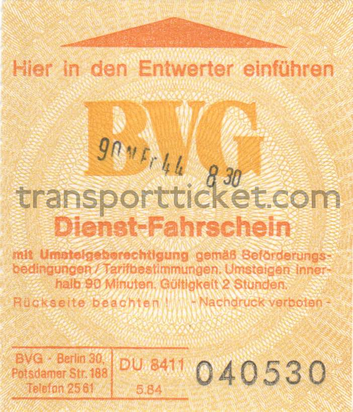 BVG service ticket (1984)