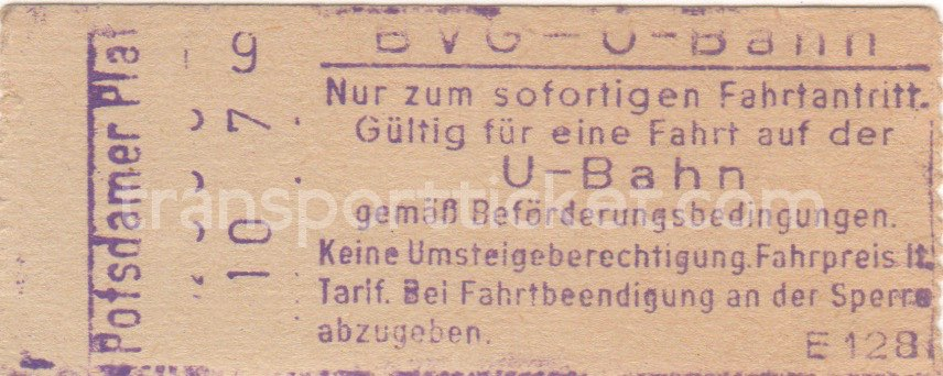BVG Ost single ticket (1961)