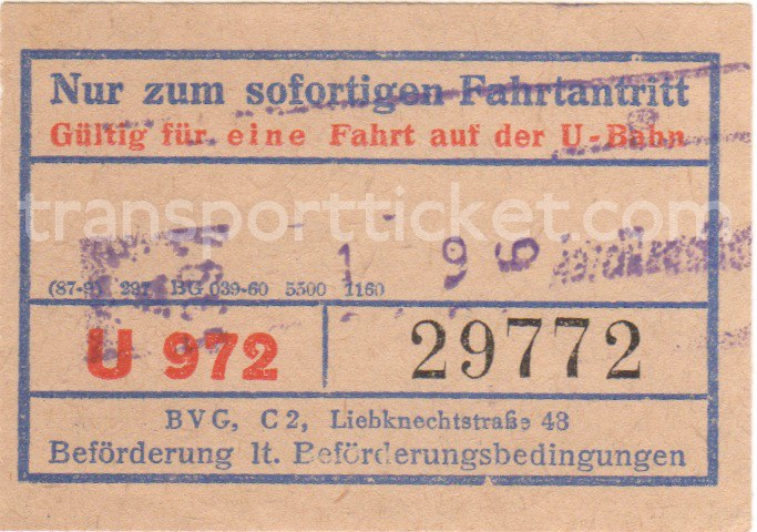 BVG Ost single ticket (1964)