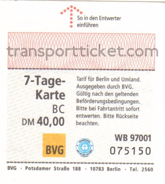 BVG week pass (1997)