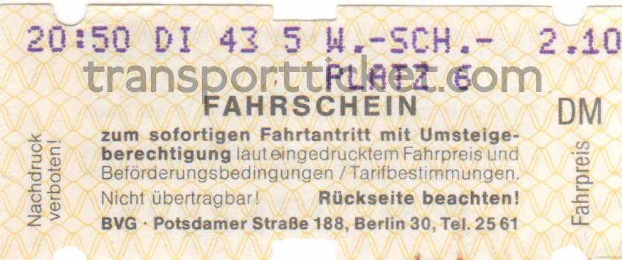 BVG single ticket (1985)
