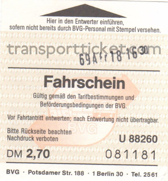 BVG single ticket (1988)