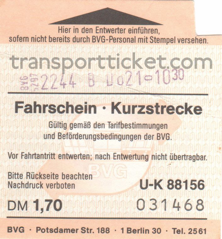 BVG single ticket (1989)