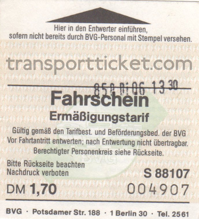 BVG single ticket (1990)