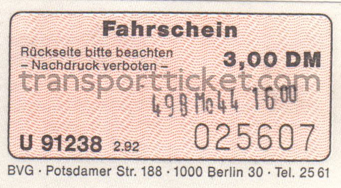 BVG single ticket (1992)