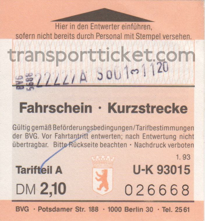 BVG single ticket (1993)