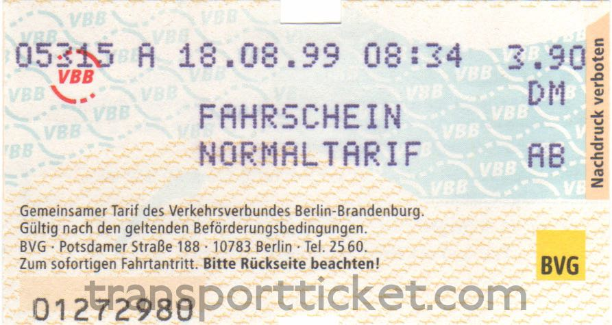 BVG single ticket (1999)