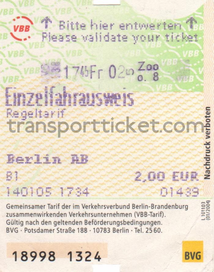 BVG single ticket (2005)