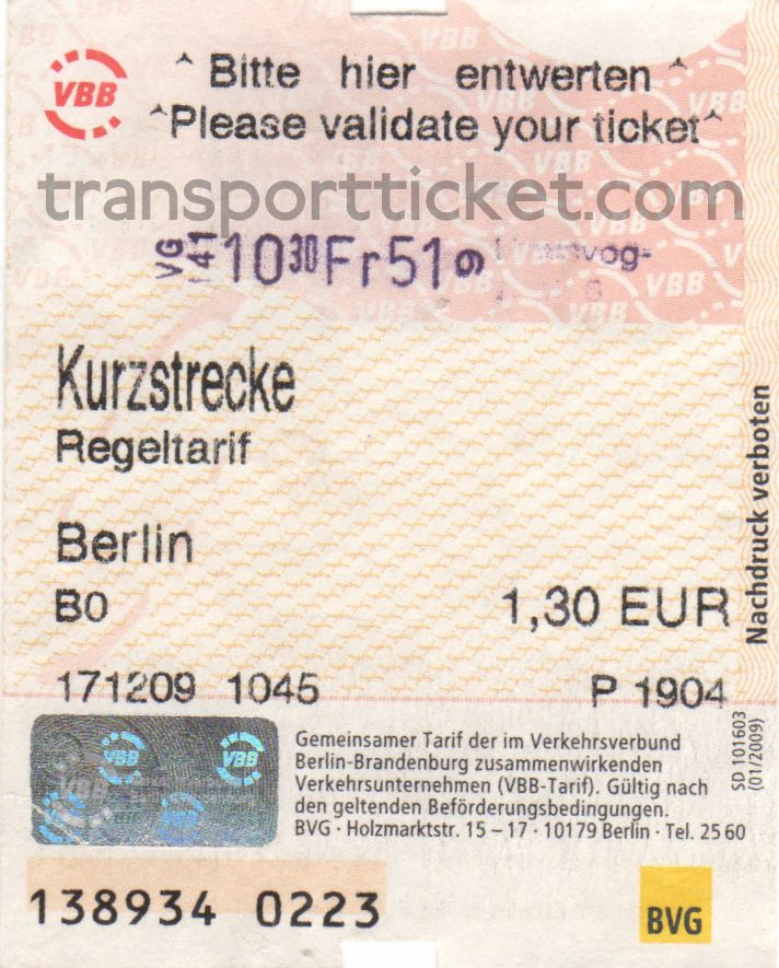 BVG single ticket (2009)