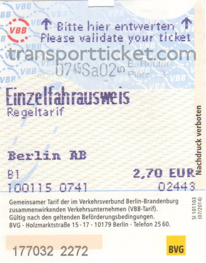 BVG single ticket (2015)