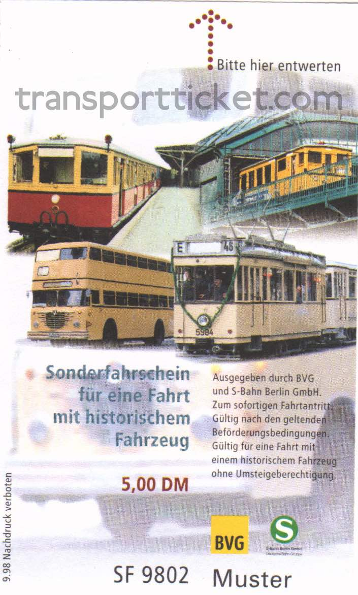 BVG special ticket for a ride on a vintage bus, tram or subway (1998)