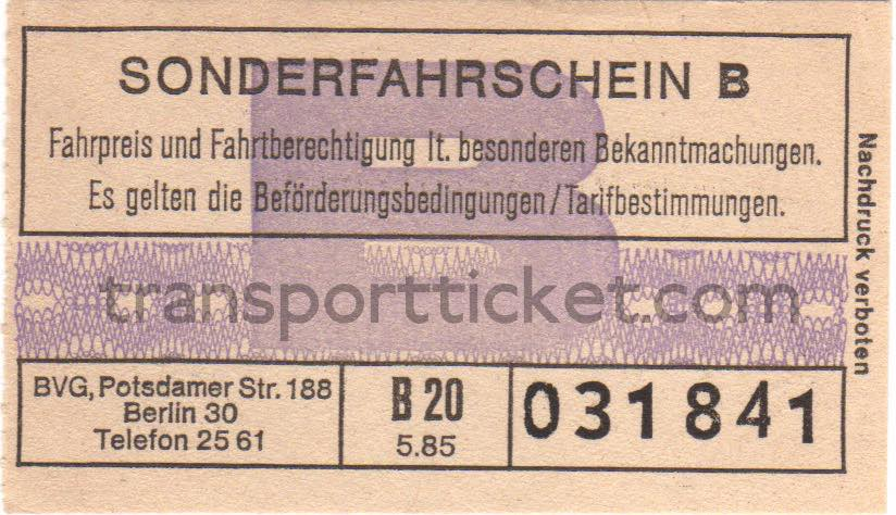 BVG return ticket bus line E to Wannsee (1985)