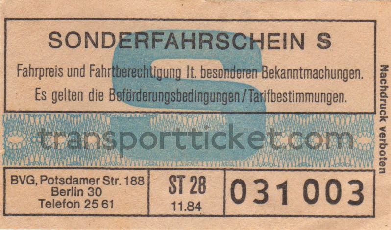 BVG single ticket Kurfürstendamm fare (1984)