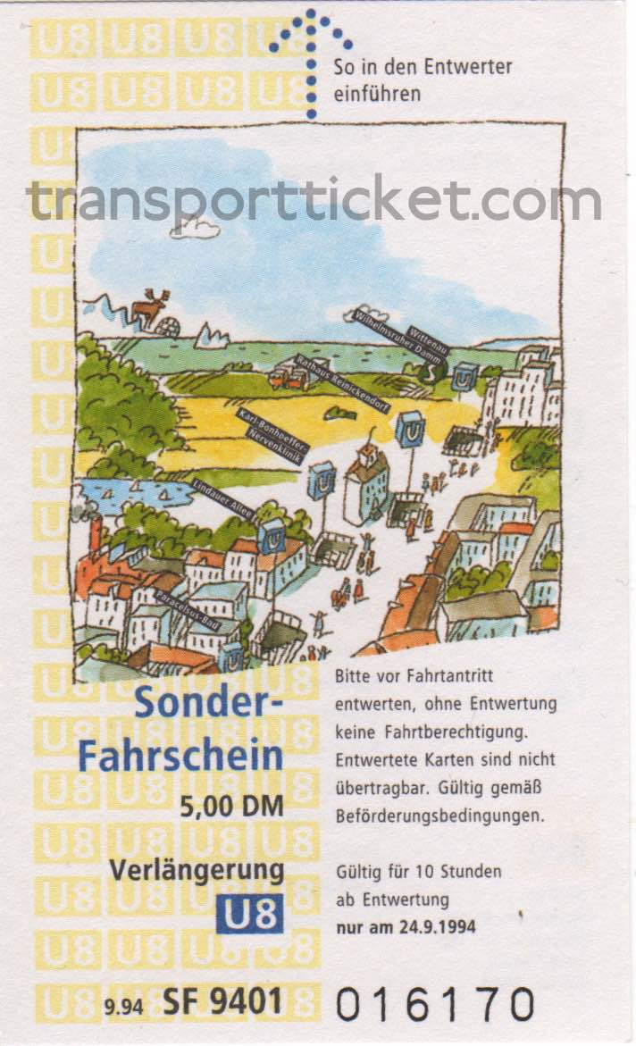 BVG special ticket for extension subway line U8 (1994)