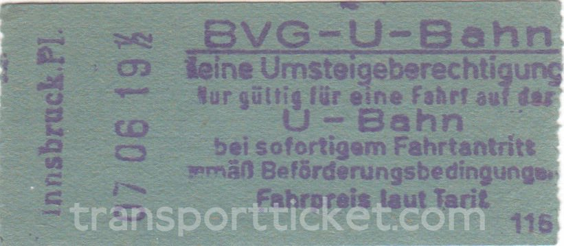 BVG West single ticket (1961)