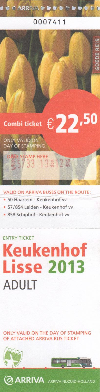ticket for Arriva bus and entrance to Keukenhof (2013)