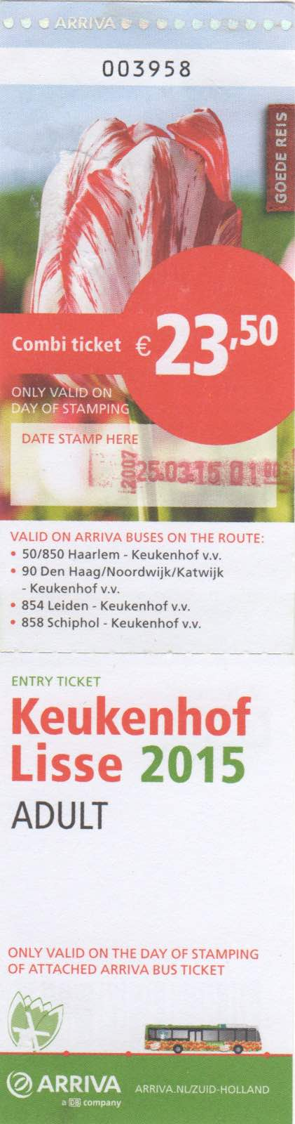 ticket for Arriva bus and entrance to Keukenhof (2015)