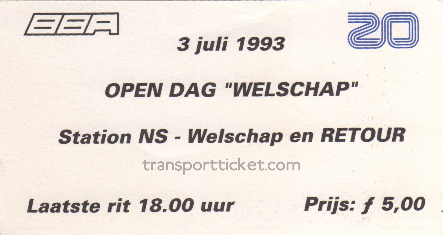BBA/ZuidOoster bus ticket Open day airforce base Eindhoven (1993)