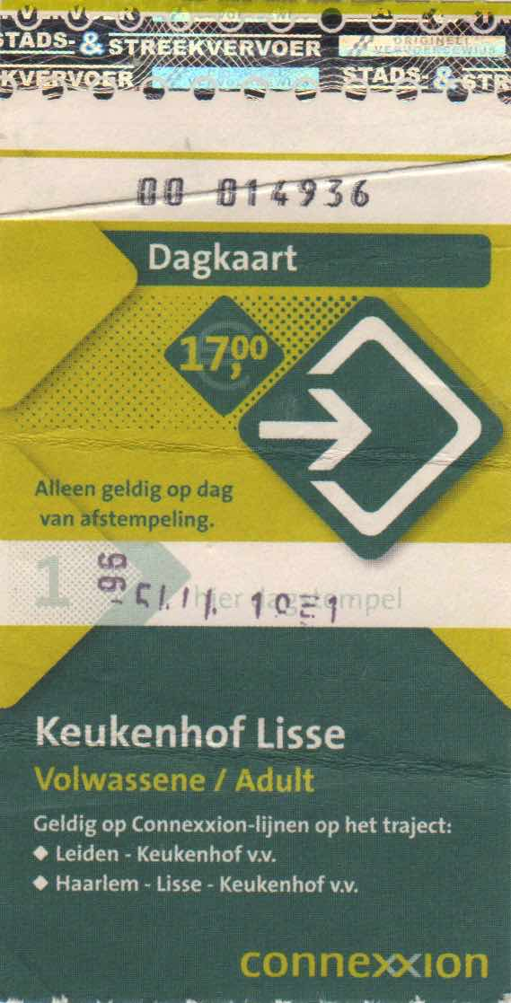 ticket for Connexxion bus and entrance to Keukenhof