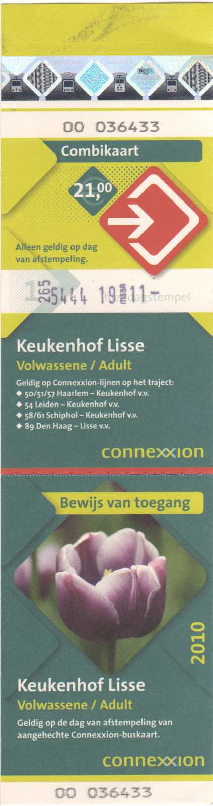 ticket for Connexxion bus and entrance to Keukenhof (2010)