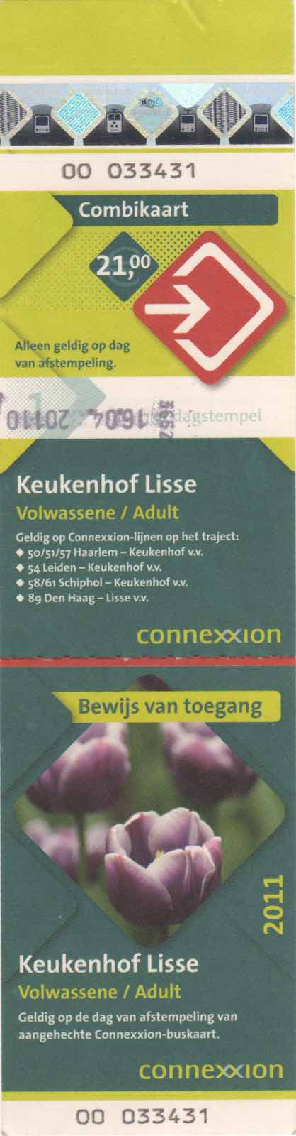 ticket for Connexxion bus and entrance to Keukenhof (2011)