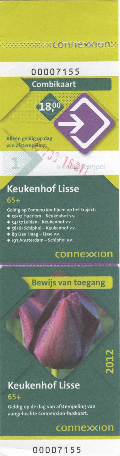 ticket for Connexxion bus and entrance to Keukenhof (2012)