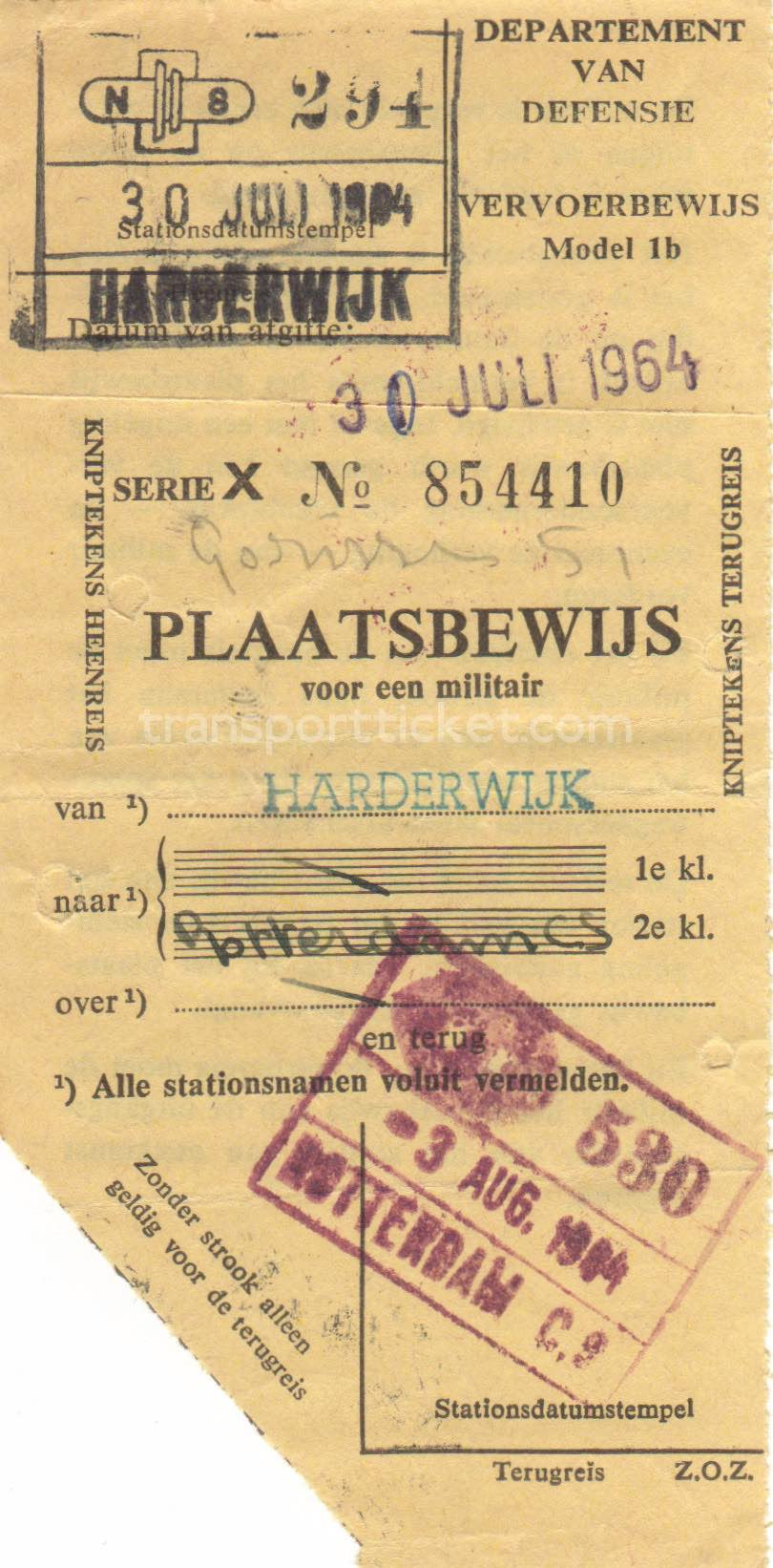 transport ticket issued by Dutch Department of Defense (1964)