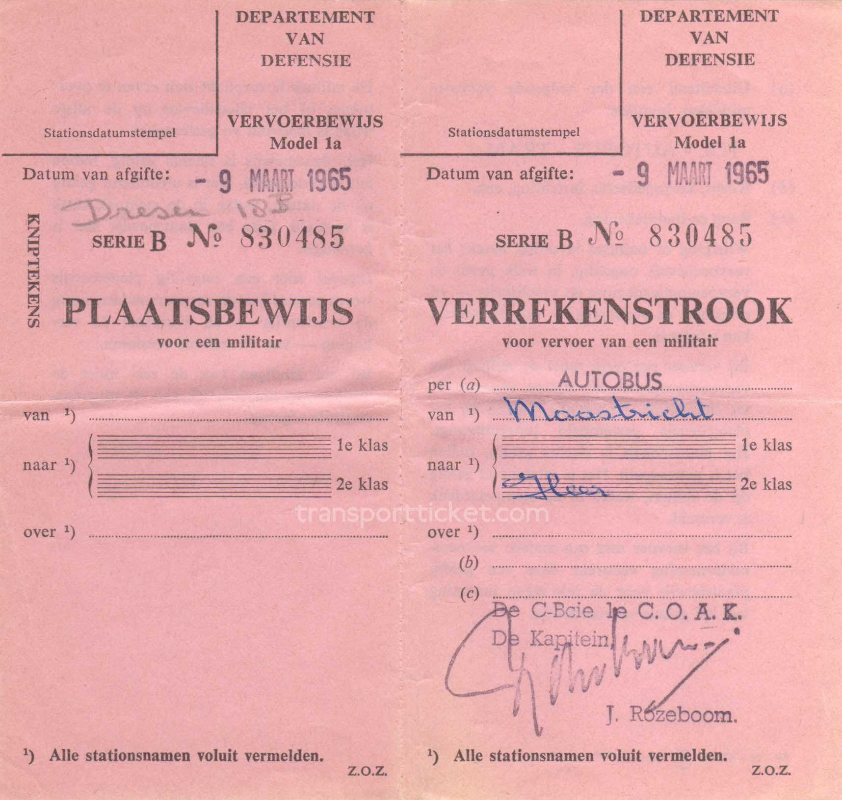 transport ticket issued by Dutch Department of Defense (1965)