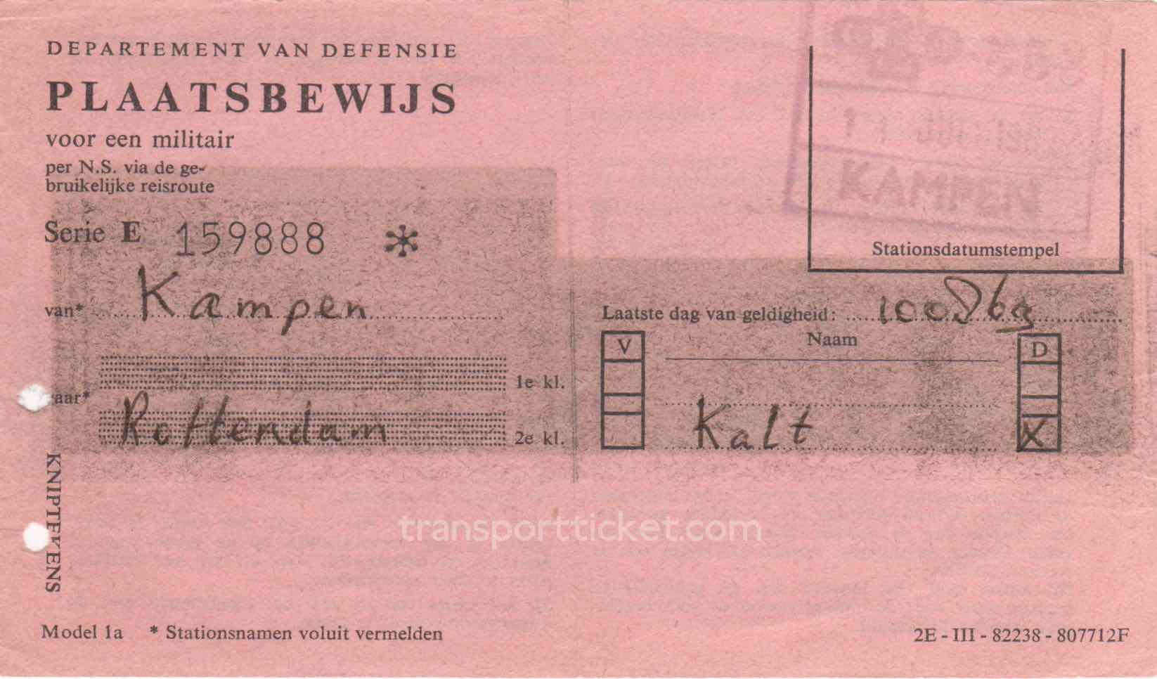 transport ticket issued by Dutch Department of Defense (1969)