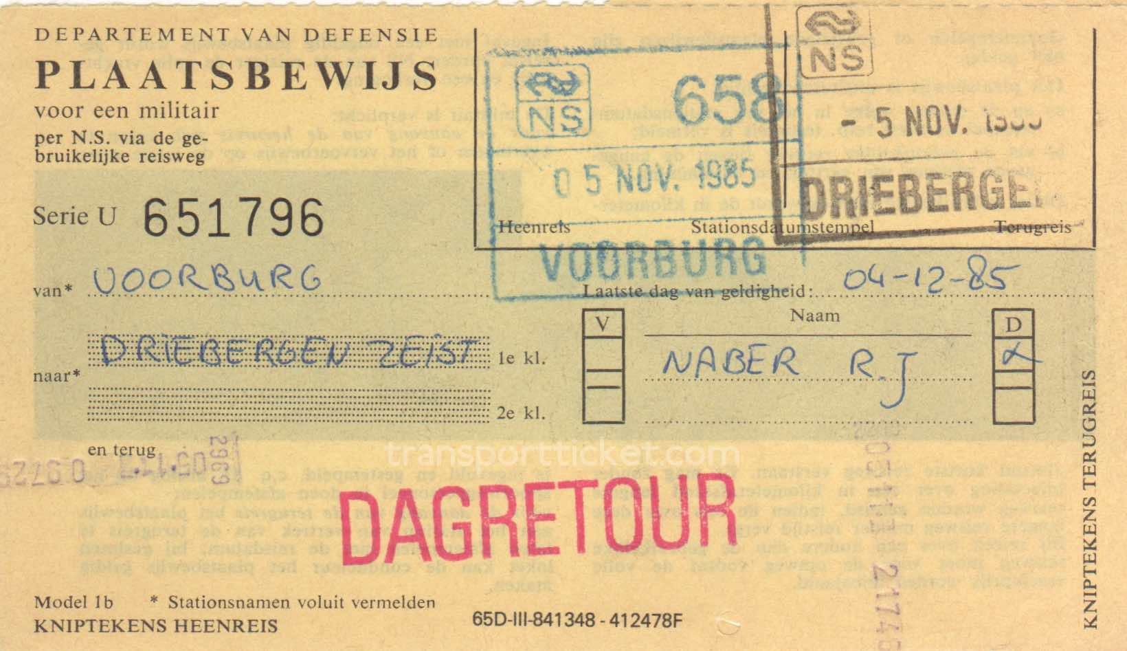 transport ticket issued by Dutch Department of Defense (1985)