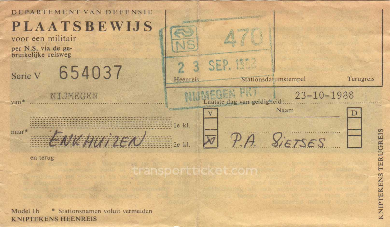 transport ticket issued by Dutch Department of Defense (1988)