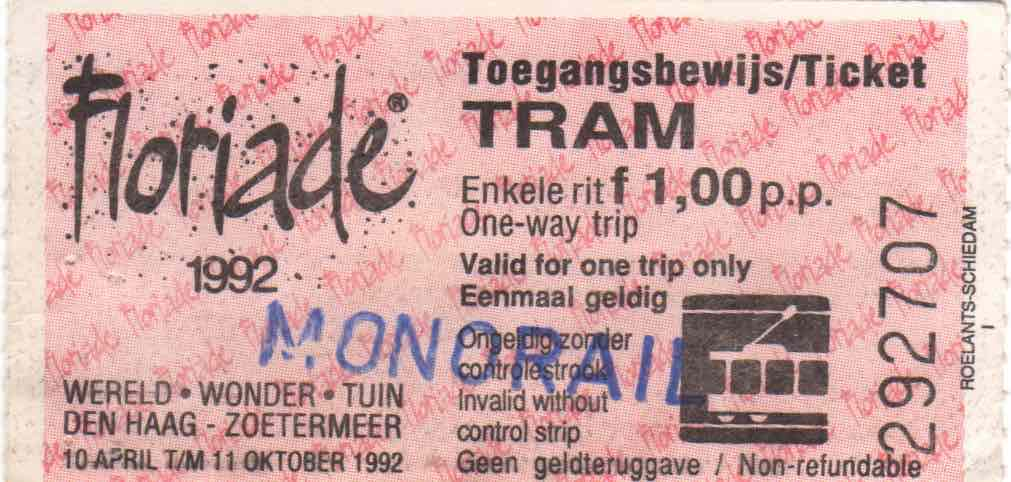 Onsite monorail ticket Floriade (1992)