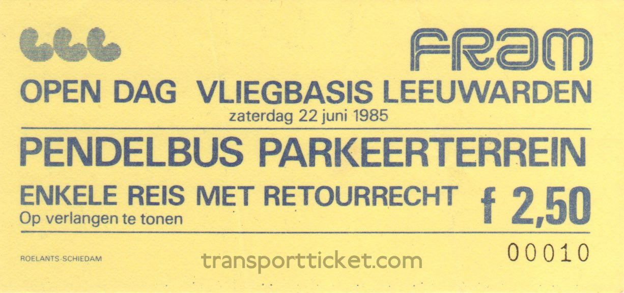 FRAM bus ticket Open day airforce base Leeuwarden (1985)