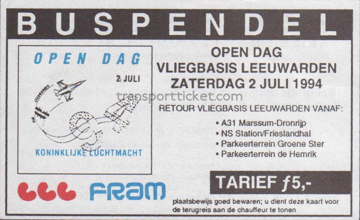 FRAM bus ticket Open day airforce base Leeuwarden (1994)