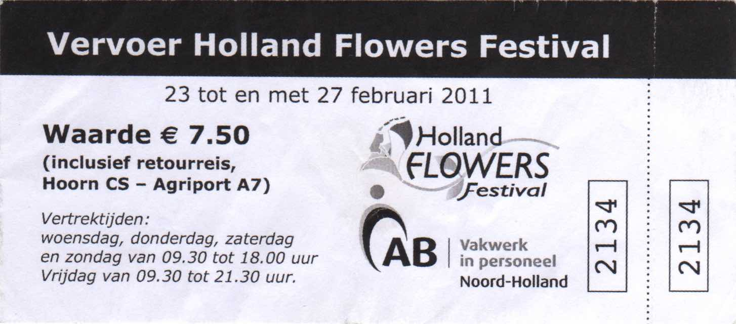 bus ticket Holland Flowers Festival (2011)