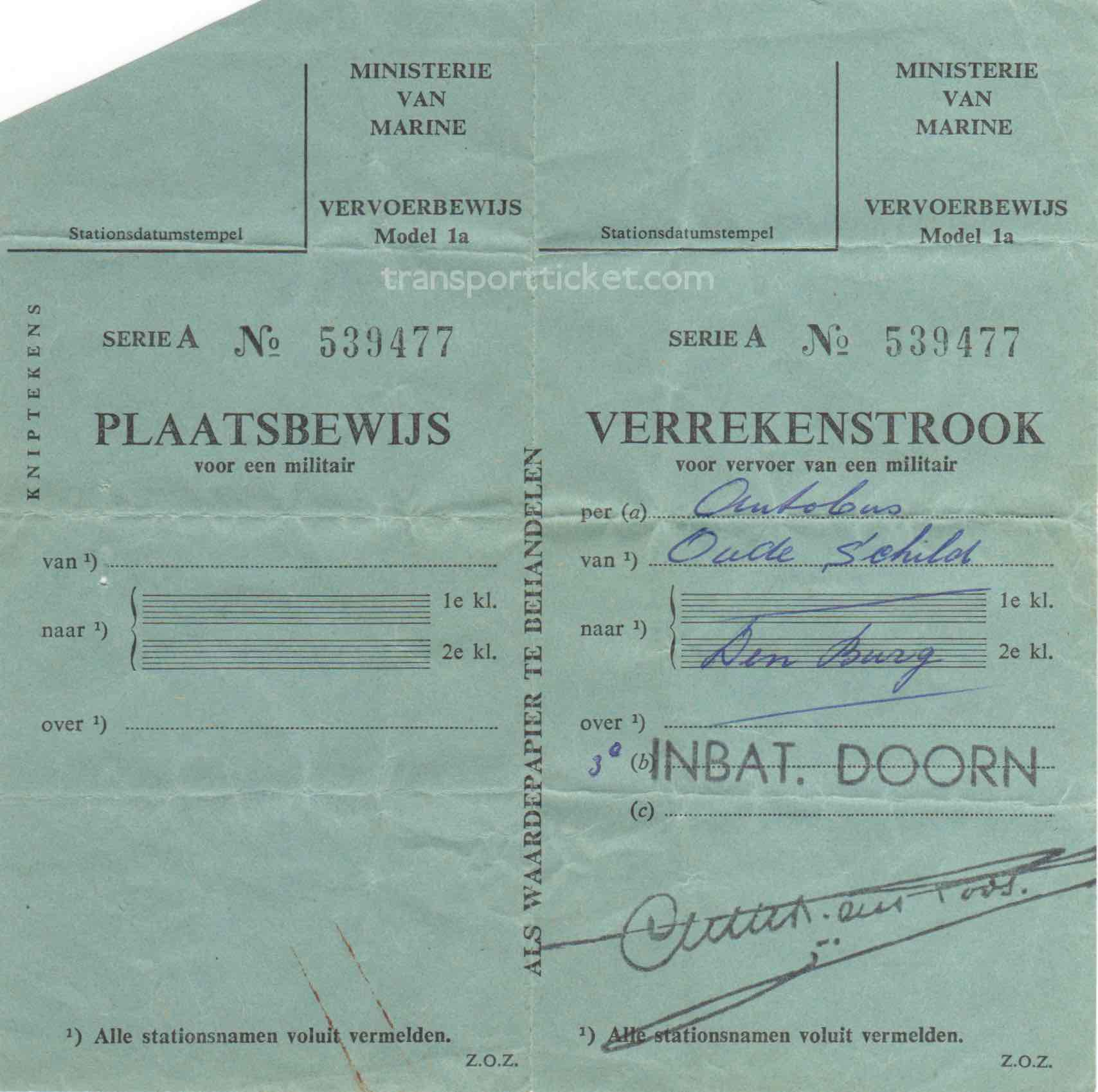 transport ticket issued by Dutch Ministry of Navy (1957)