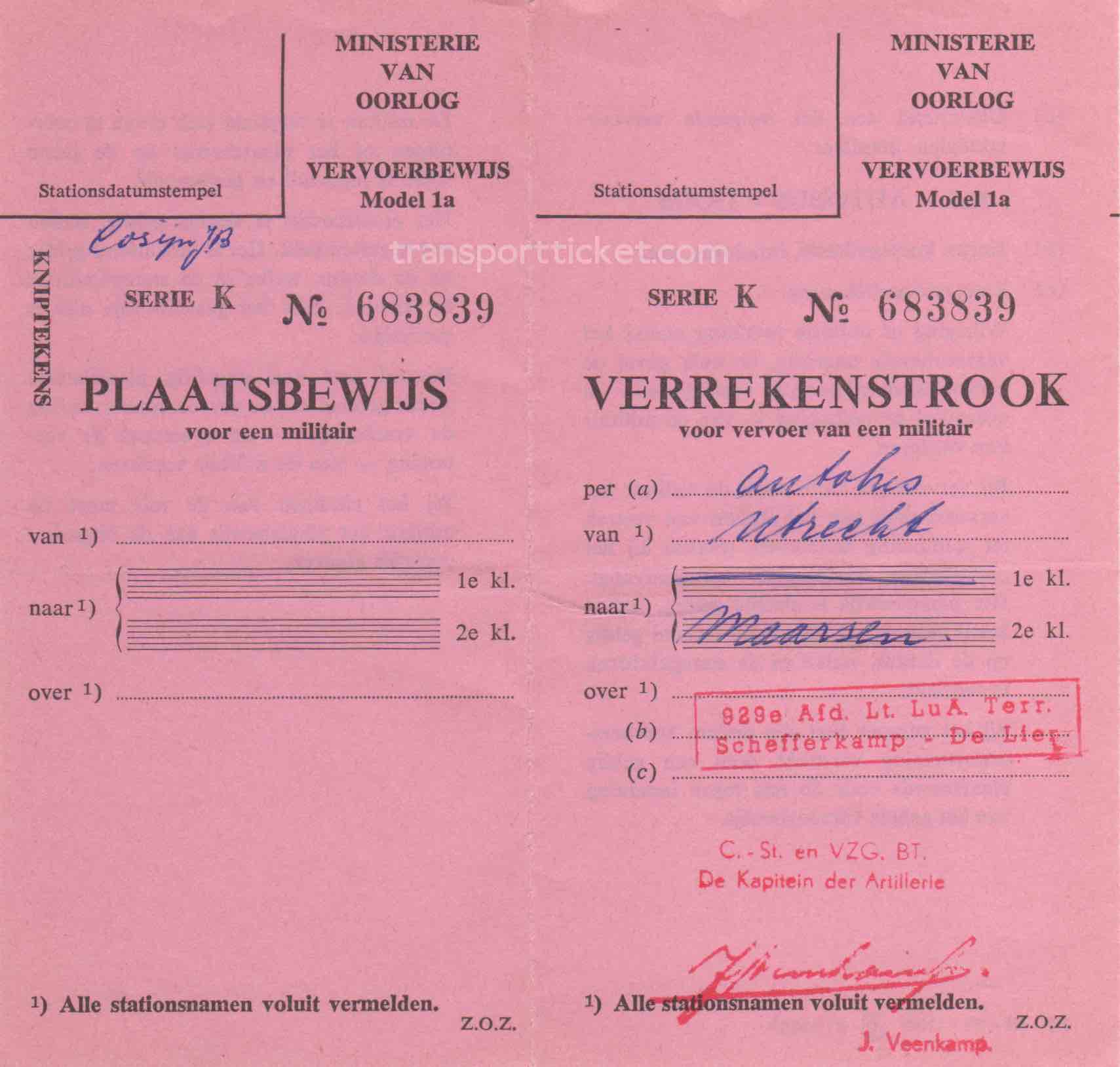 transport ticket issued by Dutch Ministry of War (1958)