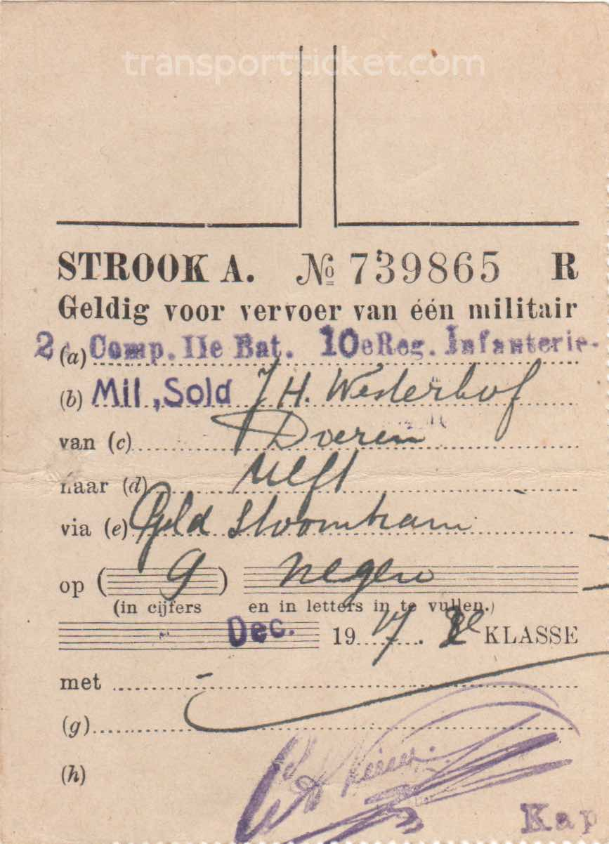 transport ticket issued by Dutch Ministry of War (1917)