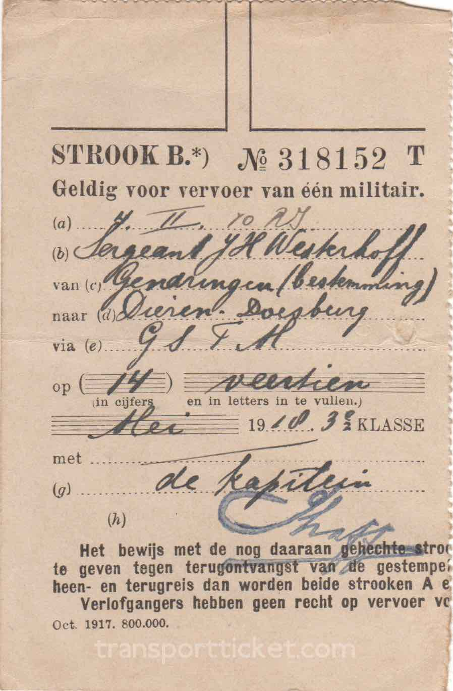 transport ticket issued by Dutch Ministry of War (1918)