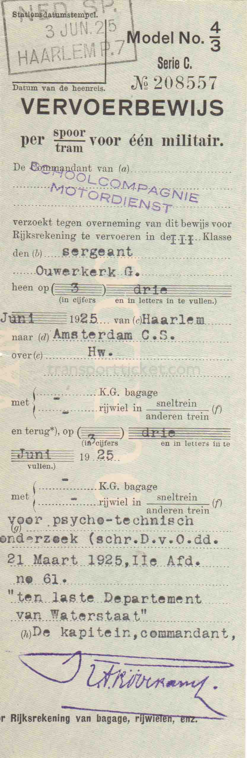transport ticket issued by Dutch Ministry of War (1925)