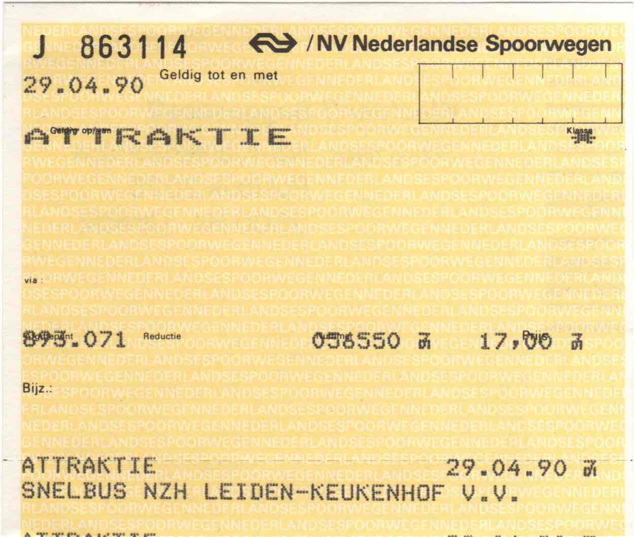 ticket for NZH bus and entrance to Keukenhof (1990)