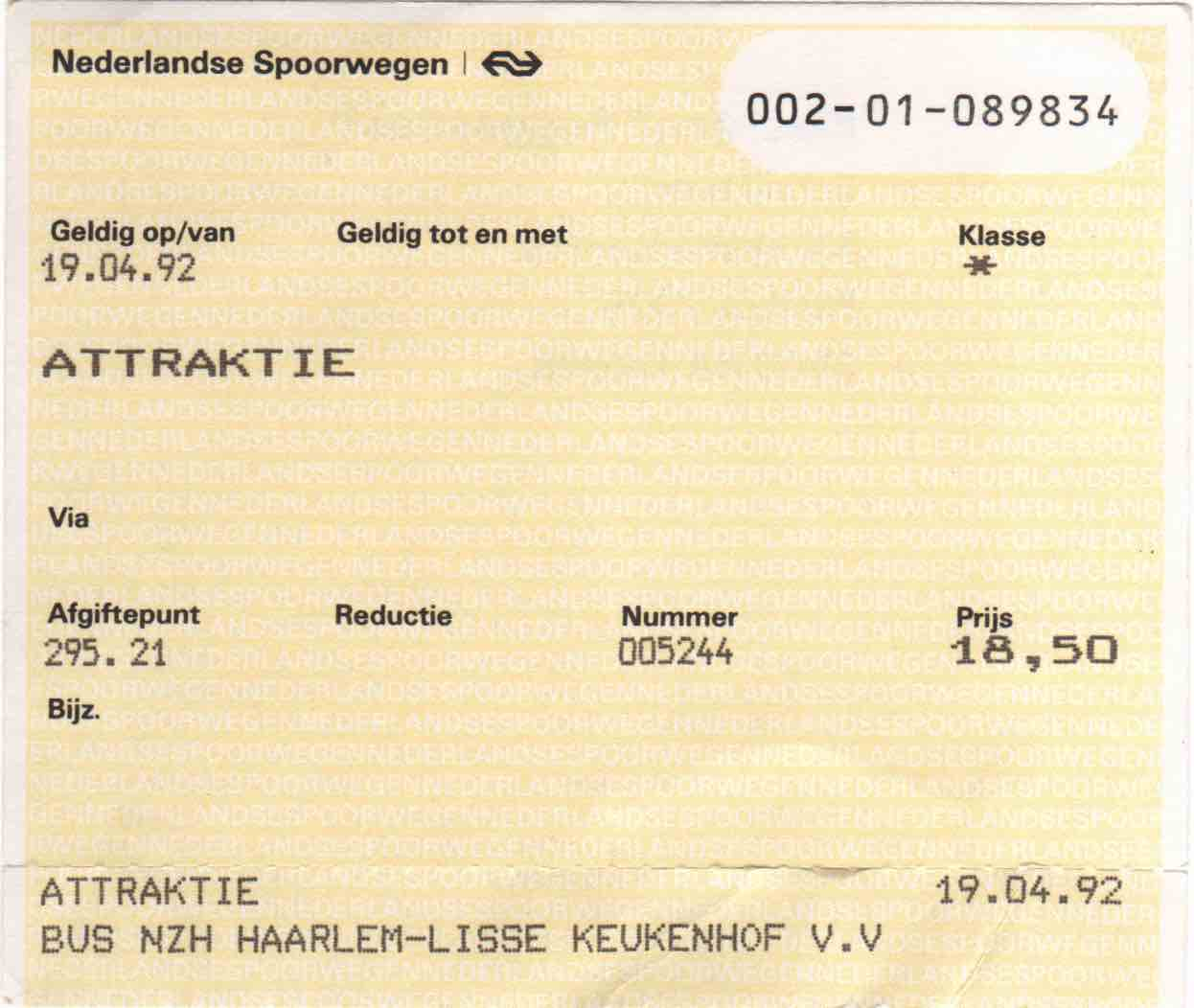 ticket for NZH bus and entrance to Keukenhof (1992)