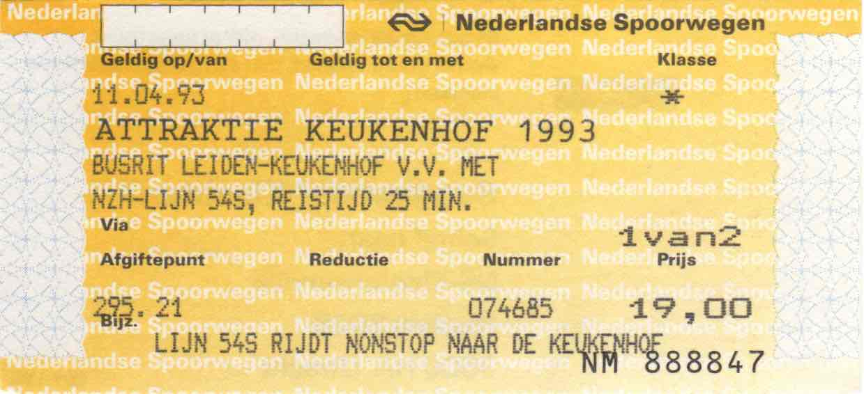 ticket for NZH bus and entrance to Keukenhof (1993)