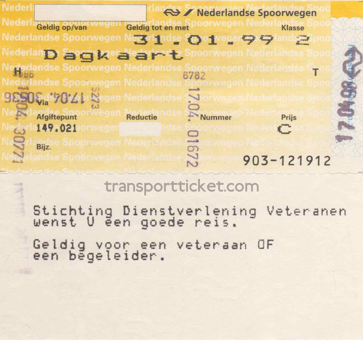 NS railway ticket for a veteran (1998)